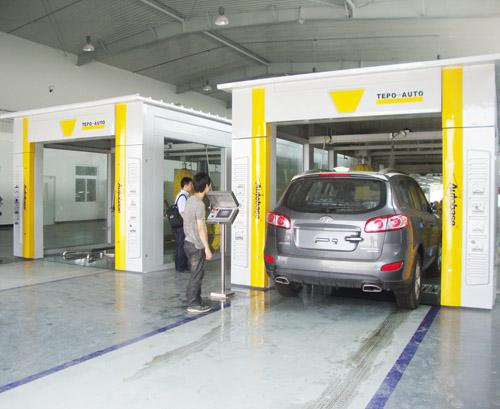 Yellow Tunnel Car Washing Equipment Effectively , High Pressure Spray Systems